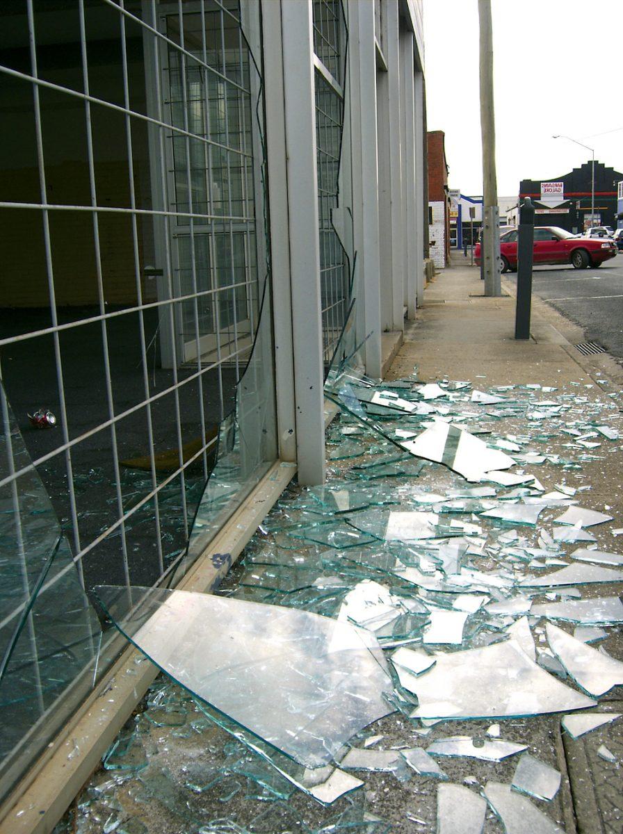 Broken shop window Film in New York